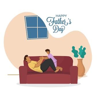 Wesoły młody człowiek bawi się z synem na kanapie dla koncepcji szczęśliwy dzień ojca.