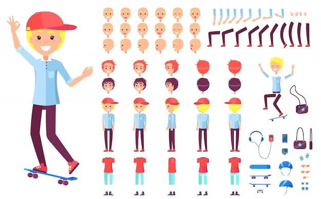 Wesoły nastolatek łyżwiarz w konstruktorze czapkę