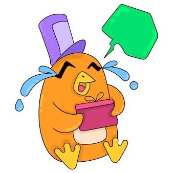 Wesoły obliczu pingwina niosąc pudełko z okazji urodzin, ilustracji wektorowych sztuki. doodle ikona obrazu kawaii.
