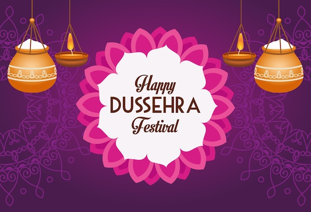 Wesoły plakat festiwalu dasera z wiszącymi ceramicznymi doniczkami i koronkową dekoracją