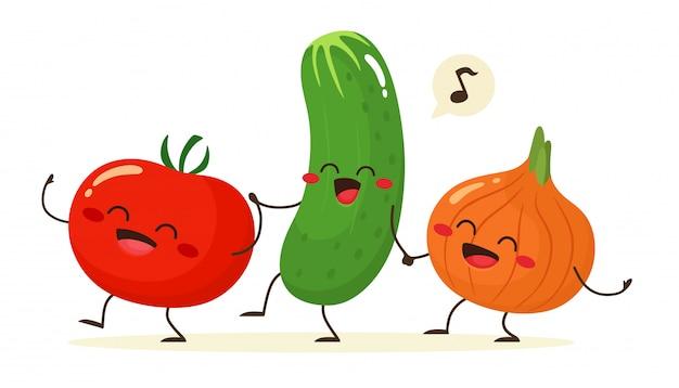 Wesoły pomidor, ogórek i cebula idą w parze trzymając się za ręce. przyjaciele na zawsze. ilustracja w stylu cartoon płaski.