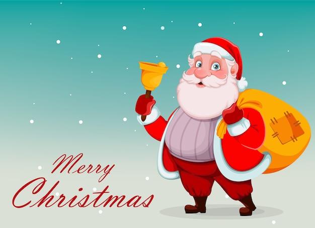 Wesoły święty mikołaj trzyma dzwonek i worek z prezentami