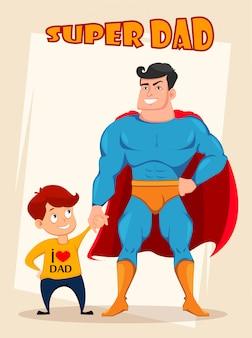 Wesoły syn i tata w stroju superbohatera