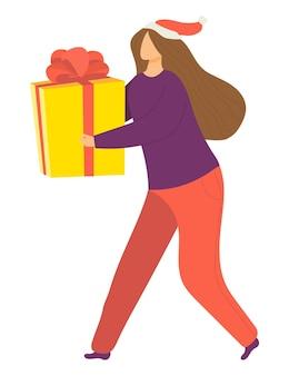 Wesoły, szczęśliwa kobieta postać trzyma pudełko na prezent na boże narodzenie