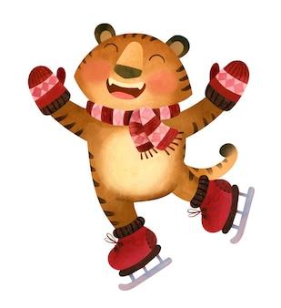 Wesoły tygrys w szaliku i rękawiczkach jeździ na łyżwach maskotka lodowisko symbol nowego roku 2022