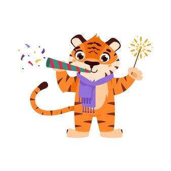 Wesoły tygrys z konfetti i brylantem symbol zwierzęcia z kreskówek chińskiego nowego roku 2022