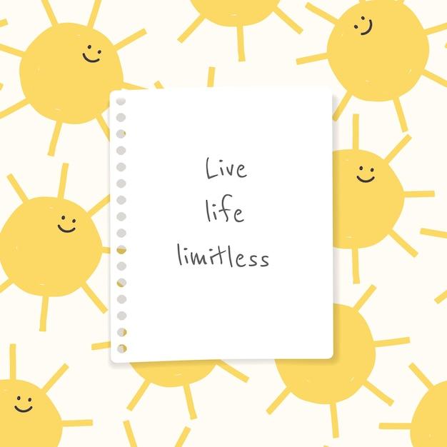 Wesoły wektor szablonu cytatu z ładnymi rysunkami pogody doodle post w mediach społecznościowych