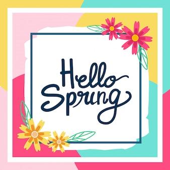 Wesoły witaj wiosna pozdrowienia projekt karty.