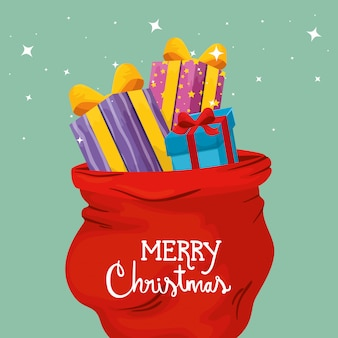 Wesołych kartki świąteczne z pudełka i torby prezenty