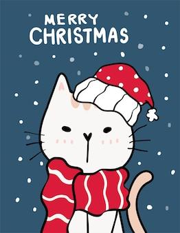 Wesołych kotów, kartka z życzeniami bożonarodzeniowymi, uroczy niegrzeczny kot w czerwonym kapeluszu mikołaja, opady śniegu na ciemnoniebieskim tle