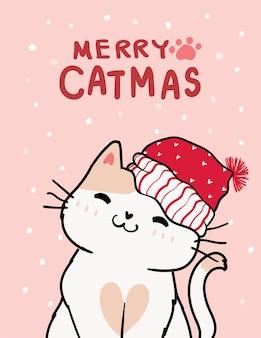 Wesołych kotów, kartki świąteczne, uroczy uśmiech kota z czerwonym kapeluszem mikołaja, opady śniegu na różowym tle, kontur doodle ręcznie rysować płaski wektor.