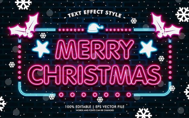 Wesołych śnieżnych efektów neonowych tekstów w stylu