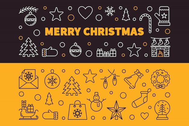 Wesołych świąt 2 banery zarys. ilustracja wektorowa boże narodzenie