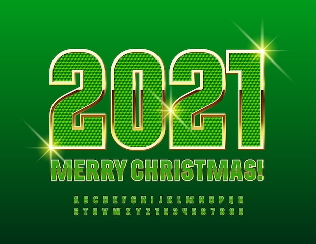 Wesołych świąt 2021. teksturowana czcionka w kolorze zielonym i złotym. zestaw liter alfabetu i cyfr w bogatym stylu