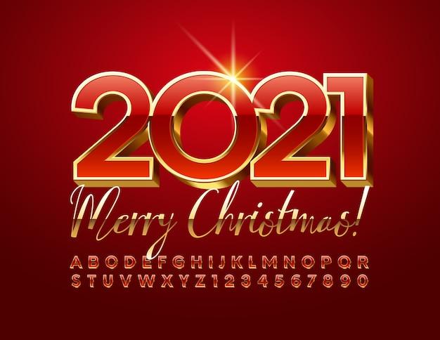 Wesołych świąt 2021 z czerwoną i złotą czcionką 3d. luksusowy alfabet litery i cyfry