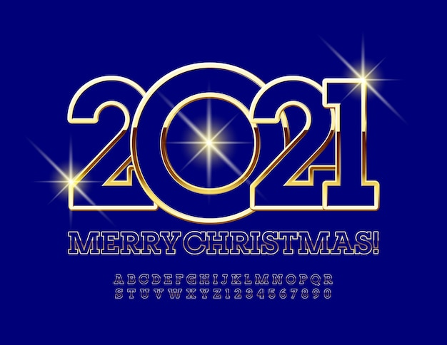 Wesołych świąt 2021. złota i niebieska czcionka. szykowne litery i cyfry alfabetu