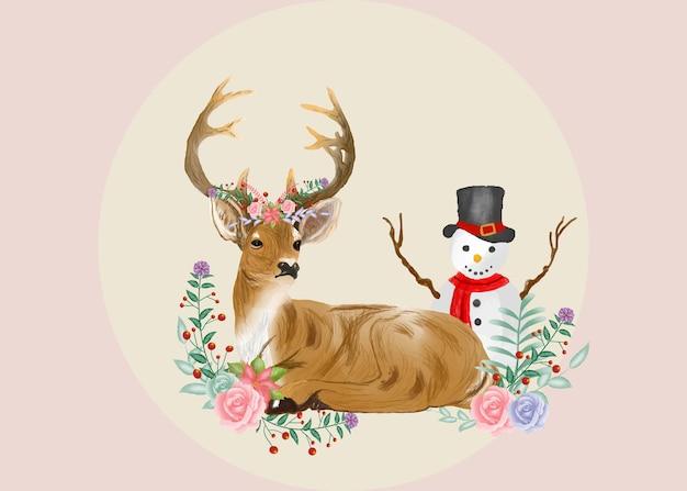 Wesołych świąt akwarela jelenia w kwiatowym stylu
