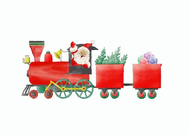 Wesołych świąt akwarelowy pociąg w stylu kreskówki