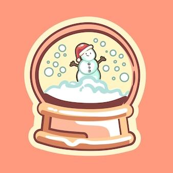 Wesołych świąt bałwan ze śniegiem na kuli śnieżnej zima w tle wektor ikona