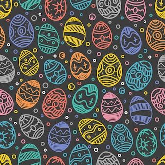 Wesołych świąt bezszwowe tło wektor wzór kolorowych elementów wielkanocnych