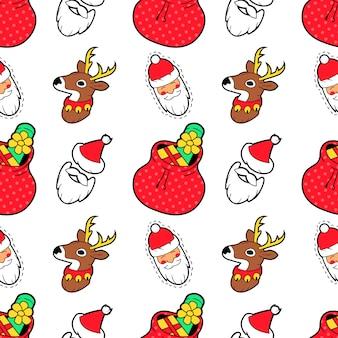 Wesołych świąt bezszwowe wzór z prezenty i skarpetki. papier pakowy na ferie zimowe.