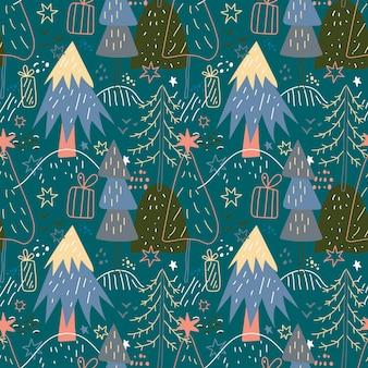 Wesołych świąt bezszwowe wzór z prostymi minimalistycznymi drzewami na ciemnym tle doodle forest