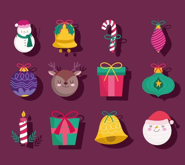 Wesołych świąt bożego narodzenia bałwan jelenia prezent piłka dzwonek świeca dekoracja i ikony sezonu ornamentów