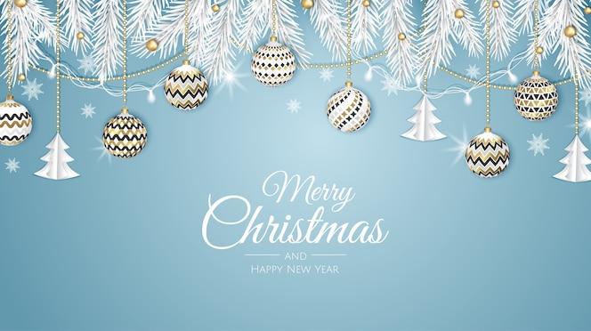 Wesołych świąt bożego narodzenia baner internetowy, złota i czerwona piłka święta. tło dla zaproszenia lub pozdrowienia sezonów.