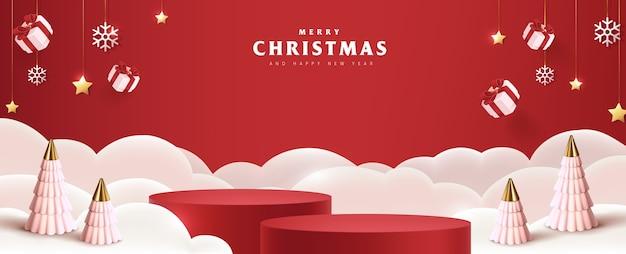 Wesołych świąt bożego narodzenia baner wyświetla cylindryczny kształt i świąteczne dekoracje na boże narodzenie