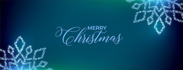 Wesołych świąt bożego narodzenia banner festiwalu z musującymi płatkami śniegu