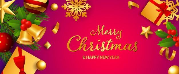 Wesołych świąt bożego narodzenia banner świąteczny