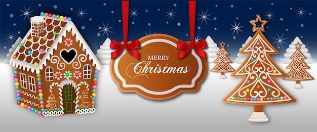 Wesołych świąt bożego narodzenia banner z domkiem z piernika i drzewami
