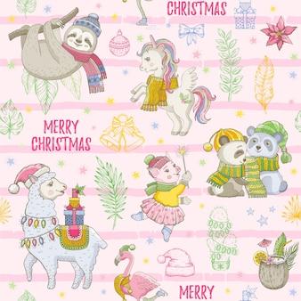 Wesołych świąt bożego narodzenia bezszwowe tło. zwierzęta z kreskówek. tropikalny wzór z leniwcem, lamą, pandą