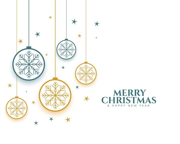 Wesołych świąt bożego narodzenia bombki i płatki śniegu dekoracyjne tło