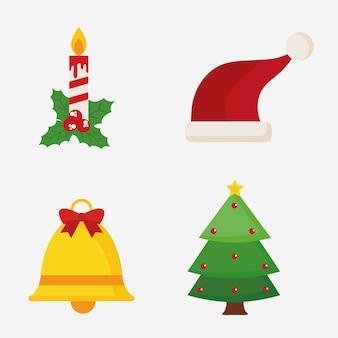 Wesołych świąt bożego narodzenia czapka z dzwonkiem i sosną, motyw zimowy.