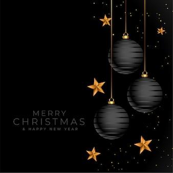 Wesołych świąt bożego narodzenia czarne i złote eleganckie tło