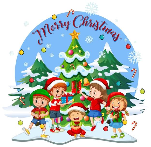 Wesołych świąt bożego narodzenia czcionka z dziećmi w stroju bożonarodzeniowym
