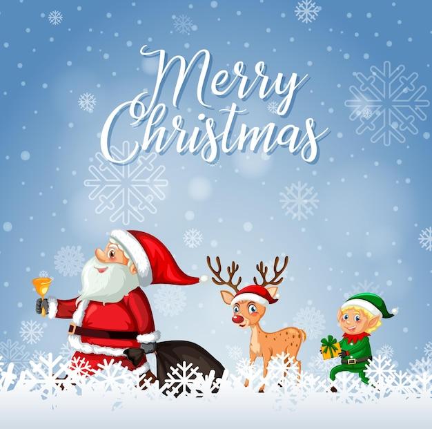 Wesołych świąt bożego narodzenia czcionka z mikołajem i reniferem
