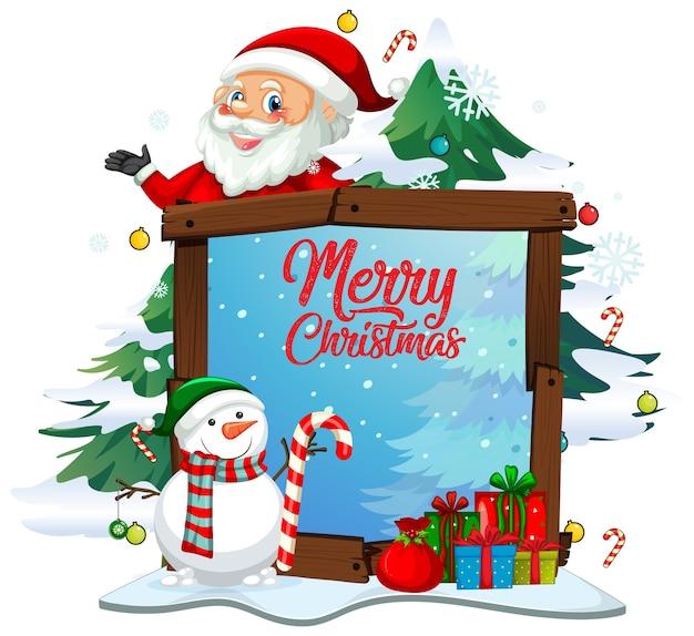 Wesołych świąt bożego narodzenia czcionka z mikołajem w motywie świątecznym na białym tle