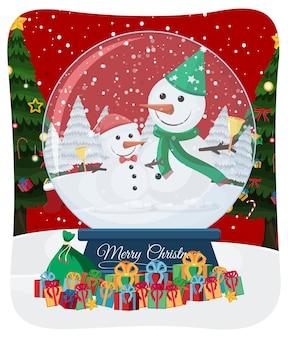 Wesołych świąt bożego narodzenia czcionka z mikołajem w scenie śniegu