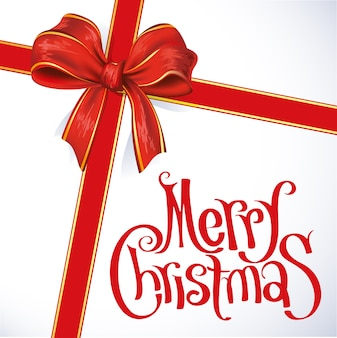 Wesołych świąt bożego narodzenia czerwona wstążka szablon karty z pozdrowieniami nowego roku