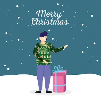 Wesołych świąt bożego narodzenia człowiek z brzydkie sweter prezent celebracja śniegu