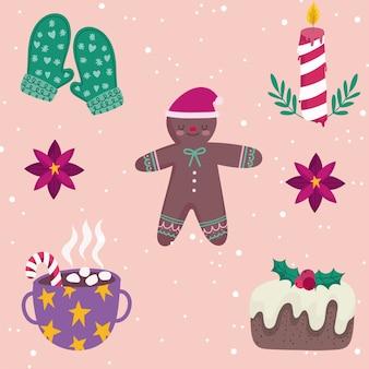 Wesołych świąt bożego narodzenia człowiek z piernika rękawiczki ciasto i cukierki ozdoba ozdoba sezon ilustracja