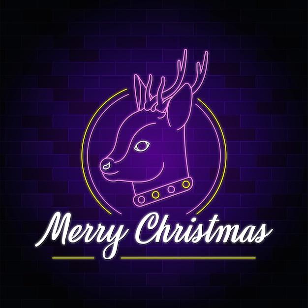 Wesołych świąt bożego narodzenia deer neon styl ilustracji wektorowych projektowania