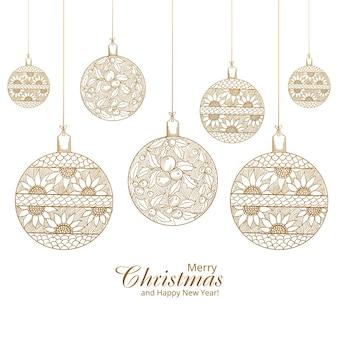 Wesołych świąt bożego narodzenia dekoracyjne kulki artystyczne tło