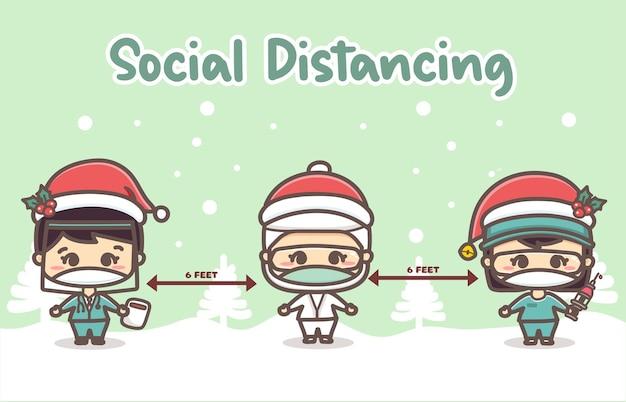Wesołych świąt bożego narodzenia dla nowej normalnej koncepcji i transparentu dystansu społecznego, lekarza, pielęgniarki z maską chirurgiczną chronią koronawirusa covid-19 w zimowej scenerii śniegu.