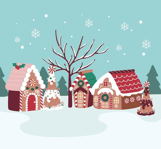 Wesołych świąt bożego narodzenia domek z piernika słodycze i desery wioska cukierków na drzewie