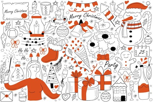 Wesołych świąt bożego narodzenia doodle zestaw. zbiór ręcznie rysowanych szkiców gryzmoły.