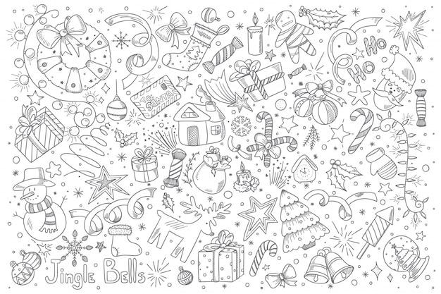 Wesołych świąt bożego narodzenia doodle zestaw
