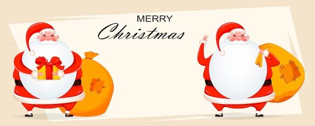 Wesołych świąt bożego narodzenia. dwie wesołe mikołajki